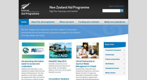 The New Zealand Aid Programme, Home page