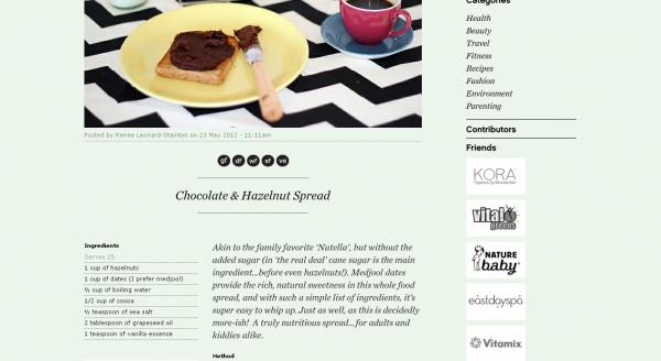 Renee Naturally, Blog recipe